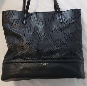 Isaac Mizrahi black leather tote bag